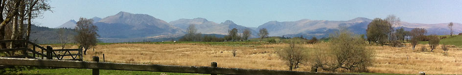 view of snowdonia mountains from the holiday cottage